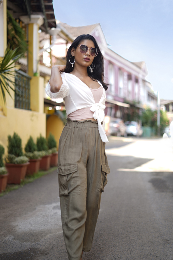 Styling White Kimono and Olive Pants