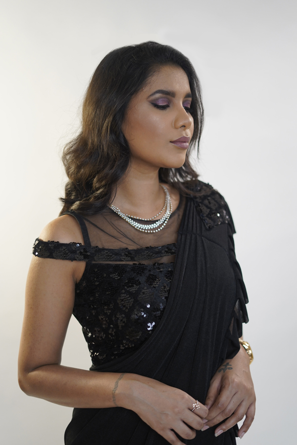 Black Cocktail Party Ruffle Saree Ideas