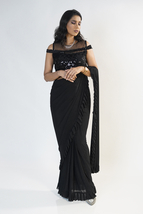 Black Cocktail Party Ruffle Saree