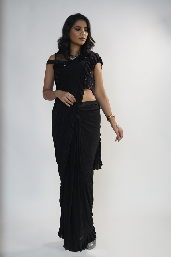 Styling a Black Ruffle Saree